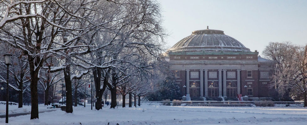 Foellinger Auditorium seen in snow